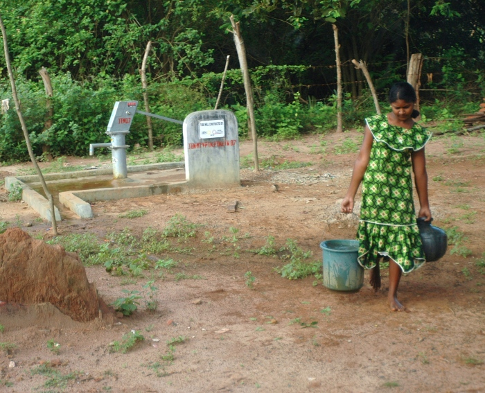 A woman fetching water