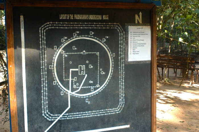 Layout of the compound (display arranged by Sri Lankan Army)
