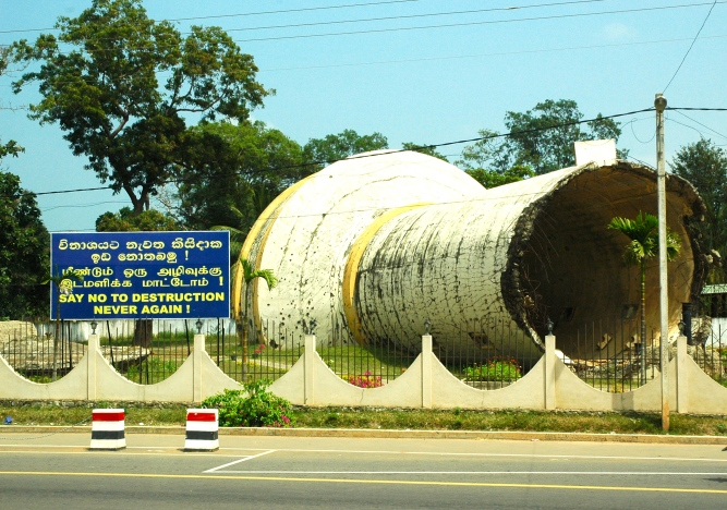 A giant water tank, blown up by Tamil Tigers during the conflict