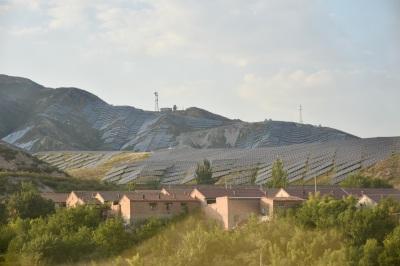 Solar panels on hillsides